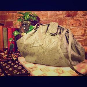 Vintage Distressed Grey Leather shoulder handbag